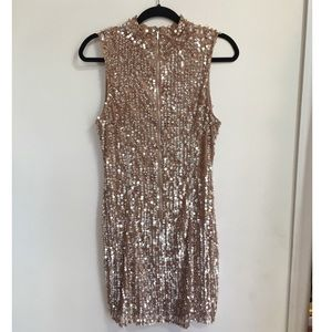 Mauve sequin high-neck sleeveless dress
